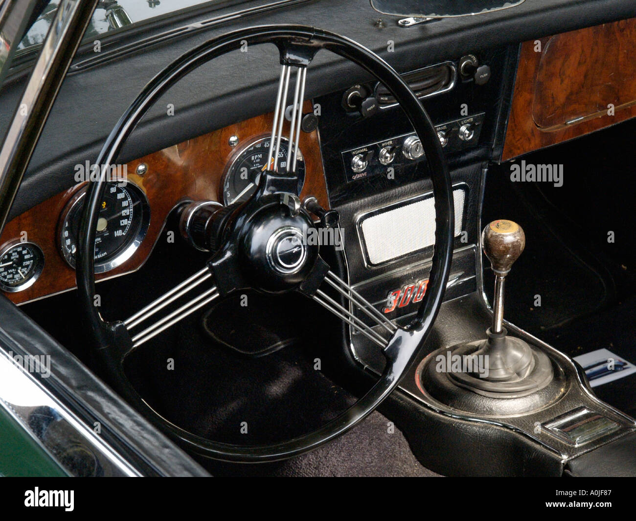 Interior Of An Austin Healey 3000 Mk3 Classic Sports Car With Sprung  Steering Wheel And Wooden Facia