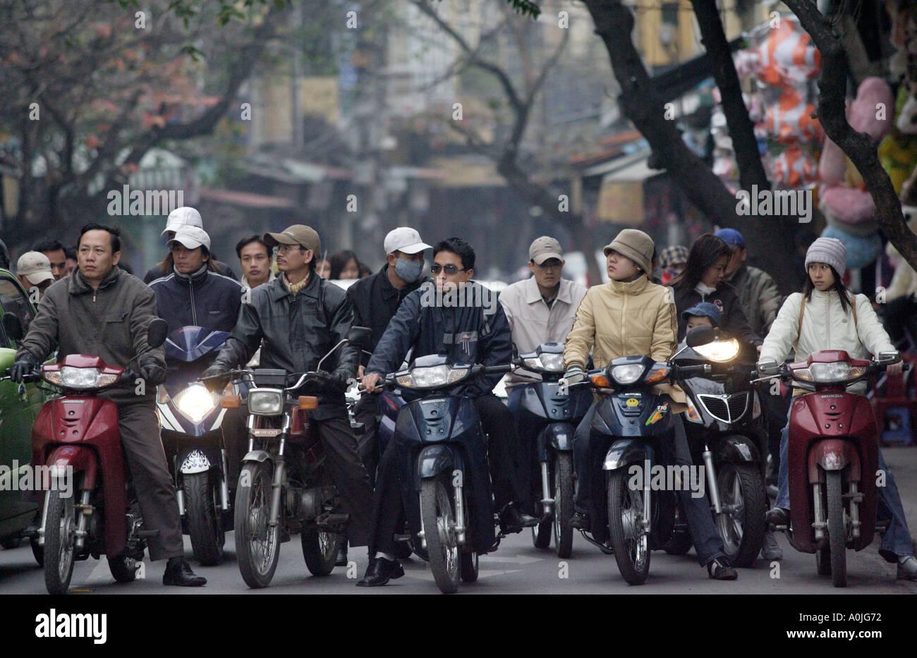 The morning rush hour in Hanoi capital of Vietnam - Stock Image