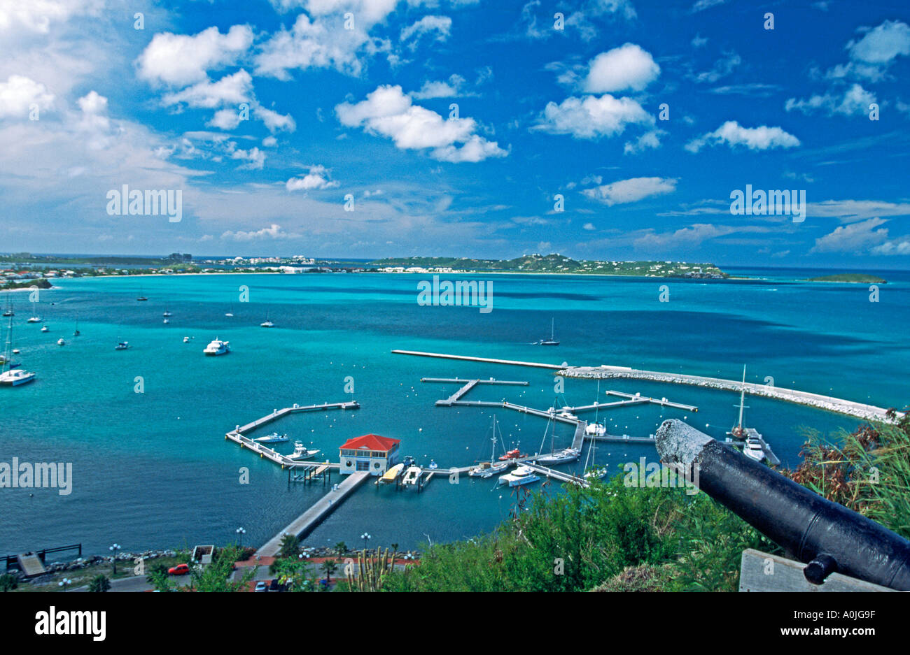 Marigot Saint Martin French West Indies panoramic view from Fort Saint Louis - Stock Image