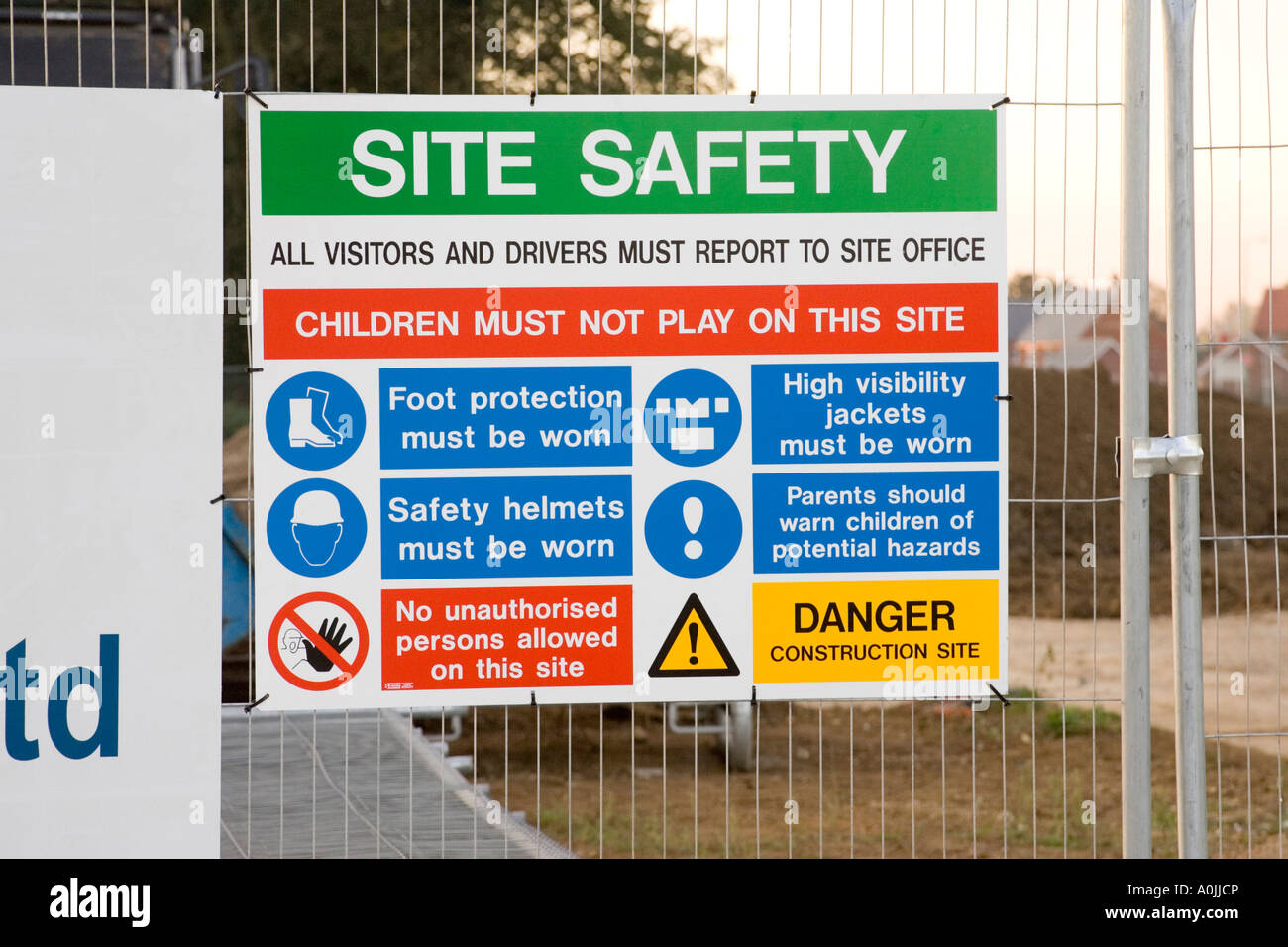 health and safety sign at a construction site Stock Photo