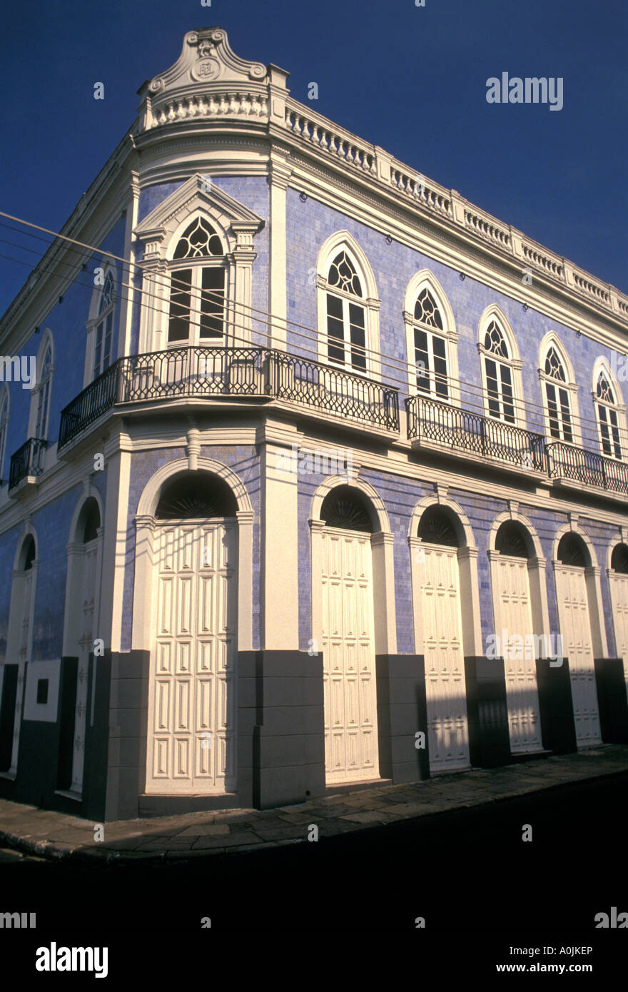colonial-style architecture, building with decorative tiles in the capital city of  Manaus, Amazonas State, Brazil, - Stock Image