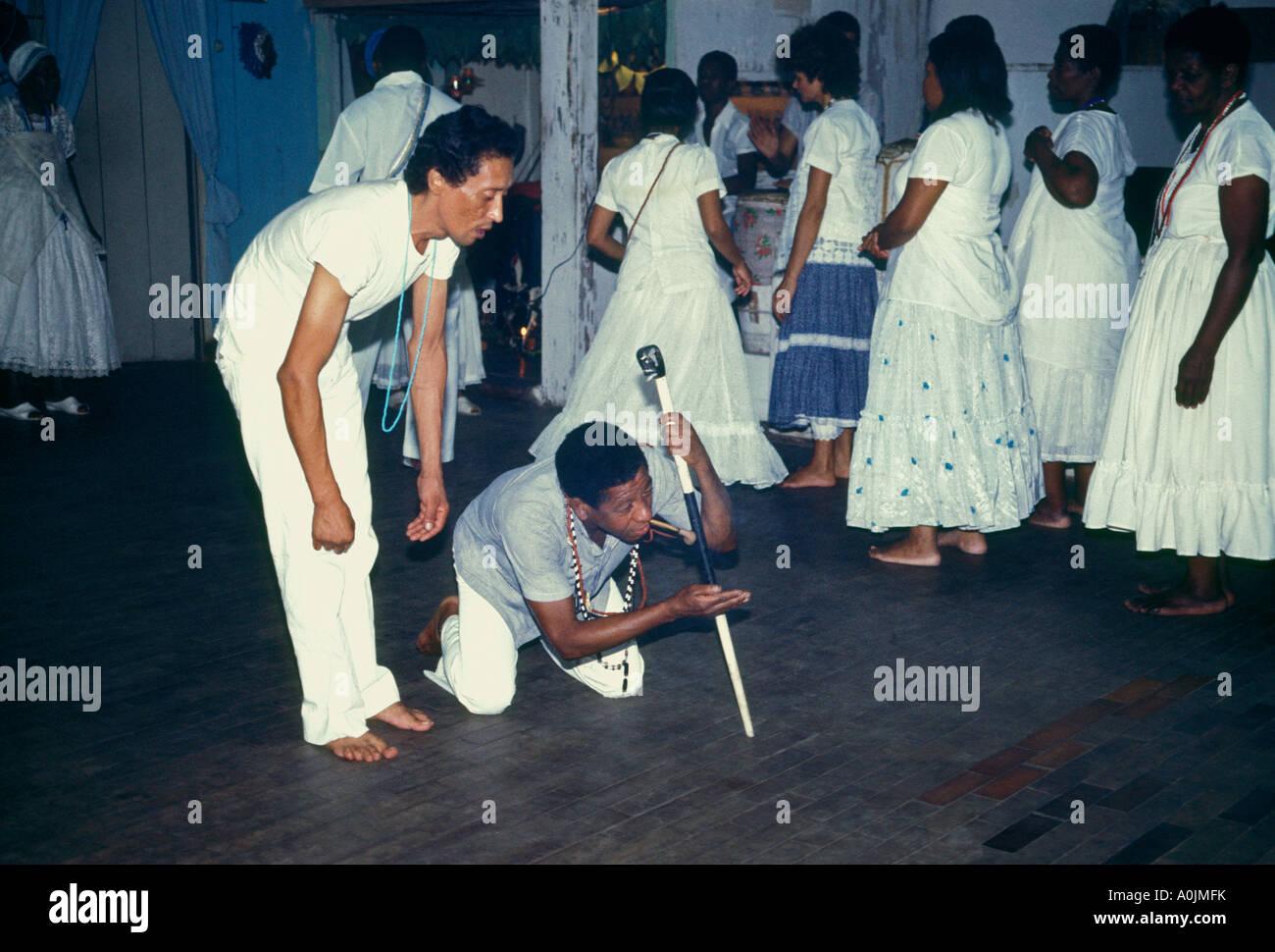 candomble ceremony, religious service, spiritualist, priest, Rio de Janeiro, Rio de Janeiro State, Brazil, South - Stock Image