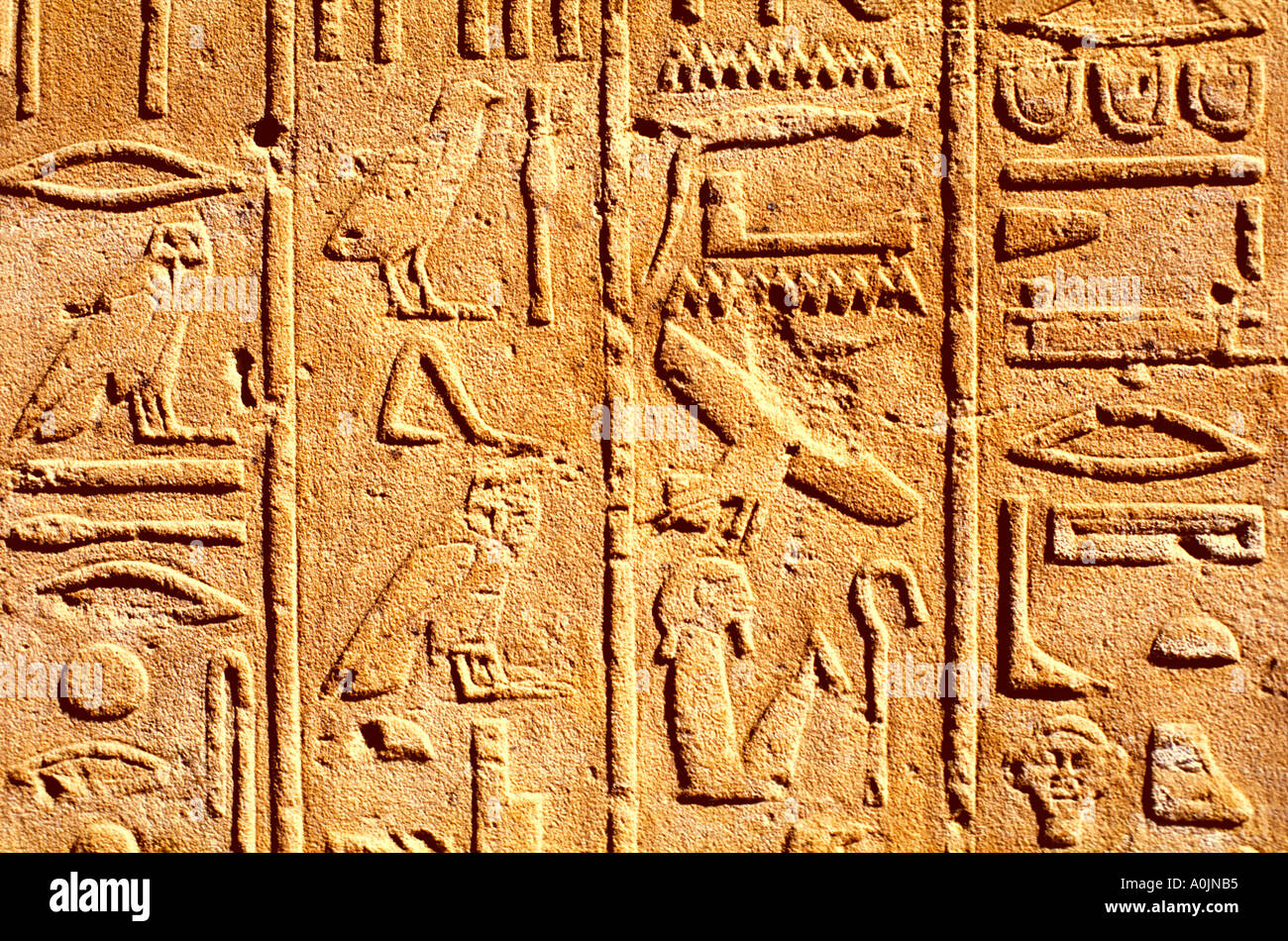 EGYPT LUXOR KARNAK TEMPLE RELIEF WITH HIEROGLYPHS  - Stock Image