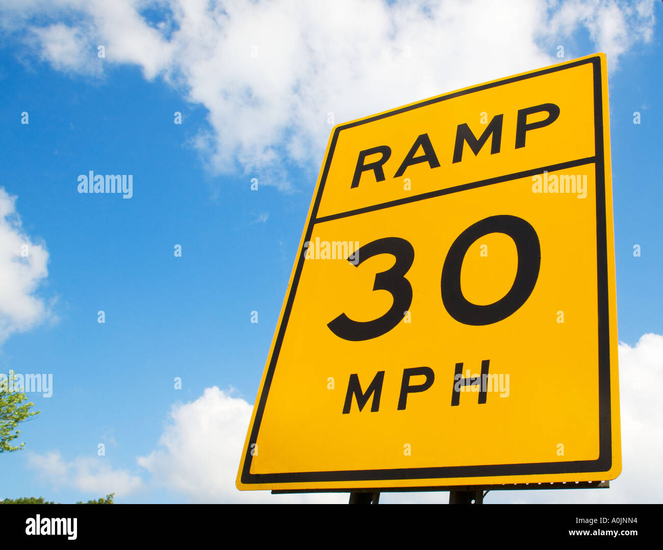 30 MPH RAMP SIGN - Stock Image