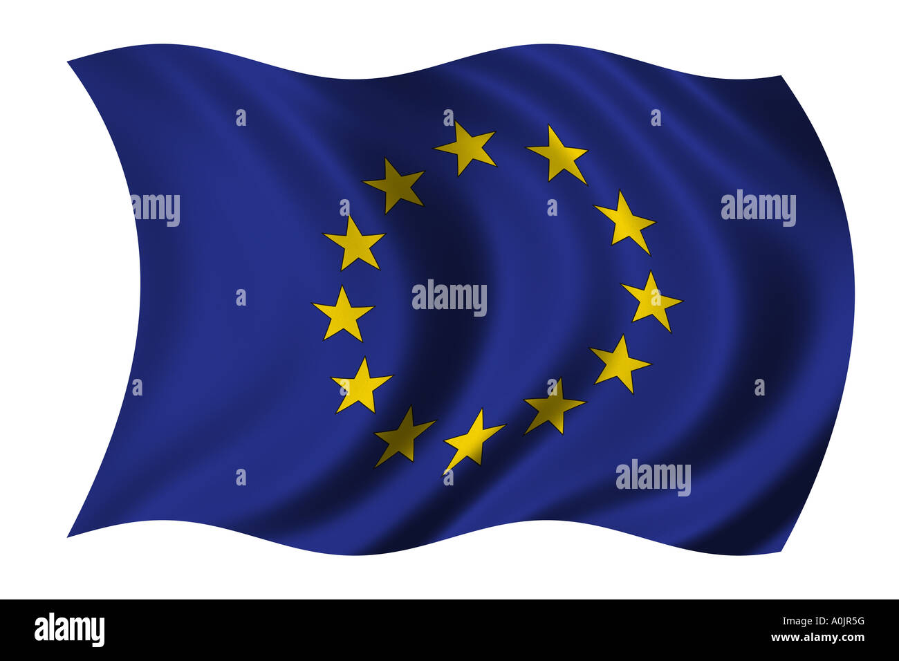 European Union Flag waving in the wind clipping path included - Stock Image