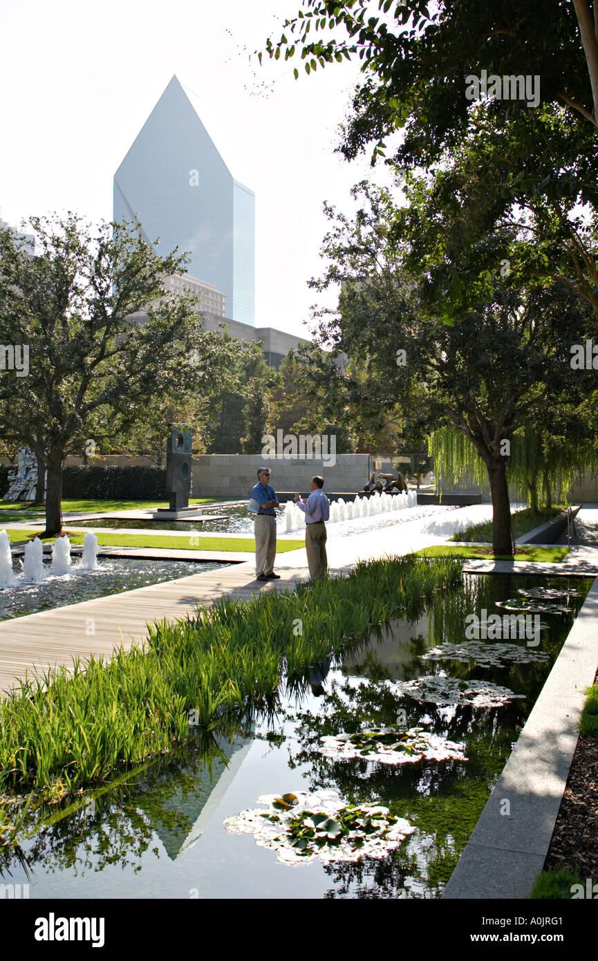 TEXAS Dallas Nasher Sculpture Center Museum Outdoor Sculpture Garden Two  Men Talk Fountains