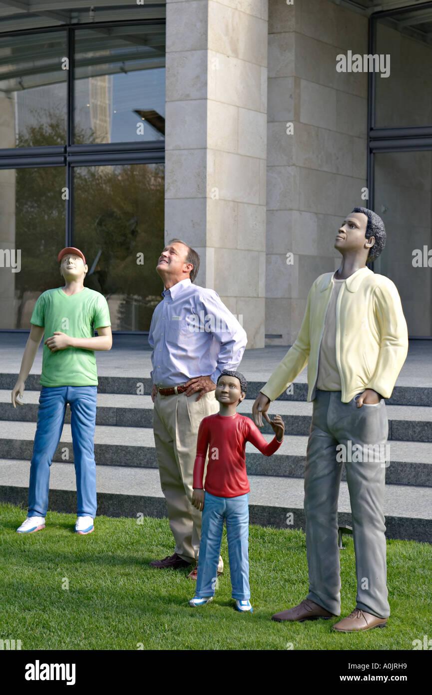 TEXAS Dallas Walking to the Sky Nasher Sculpture Center museum outdoor sculpture garden Jonathan Borofsky Stock Photo
