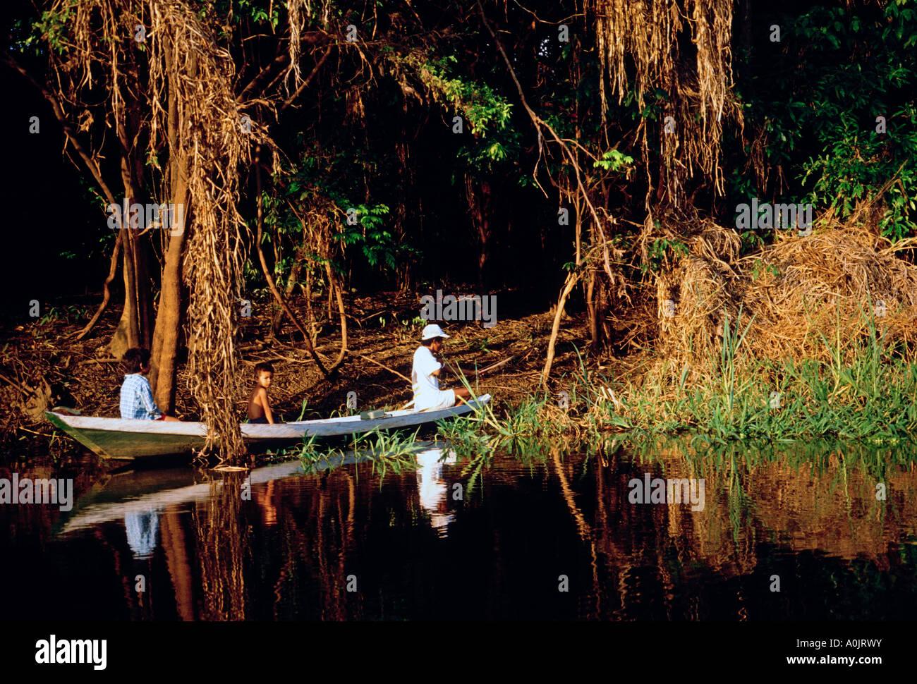Brazilian man fishing with bow and arrow, father and sons, Obim Lake, Amazon River Basin, northwest of Manaus, Amazonas - Stock Image