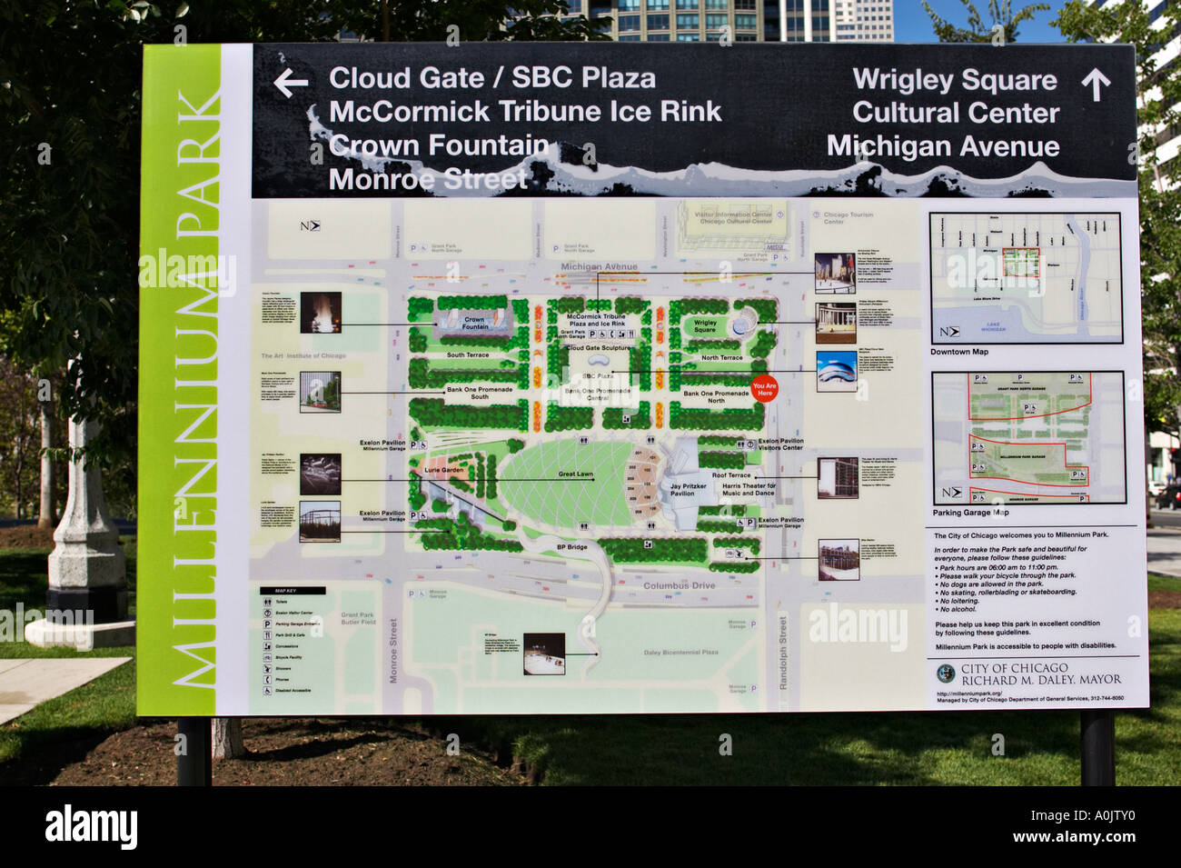 PARKS Chicago Illinois Informational map of Millennium Park ... on mile square park map, millenium garden chicago map, drawings of water park map, rogers park chicago map, millenium park skyline, morgan park chicago map, marquette park chicago map, lincoln park chicago map, milleneum park map, chicago park district map, washington park chicago map, humboldt park chicago map, jackson park chicago map, millenium park chicago library, millenium park chicago statue, millenium park navy pier,