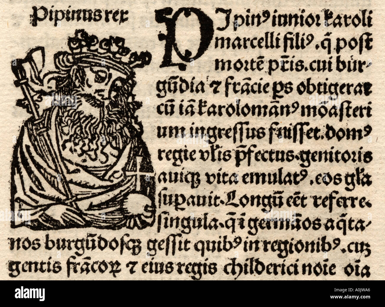 Detail from original incunable leaf in Latin from Hartmut Schedel Liber Chronicorum Printed by Schoensperger in 1497 - Stock Image