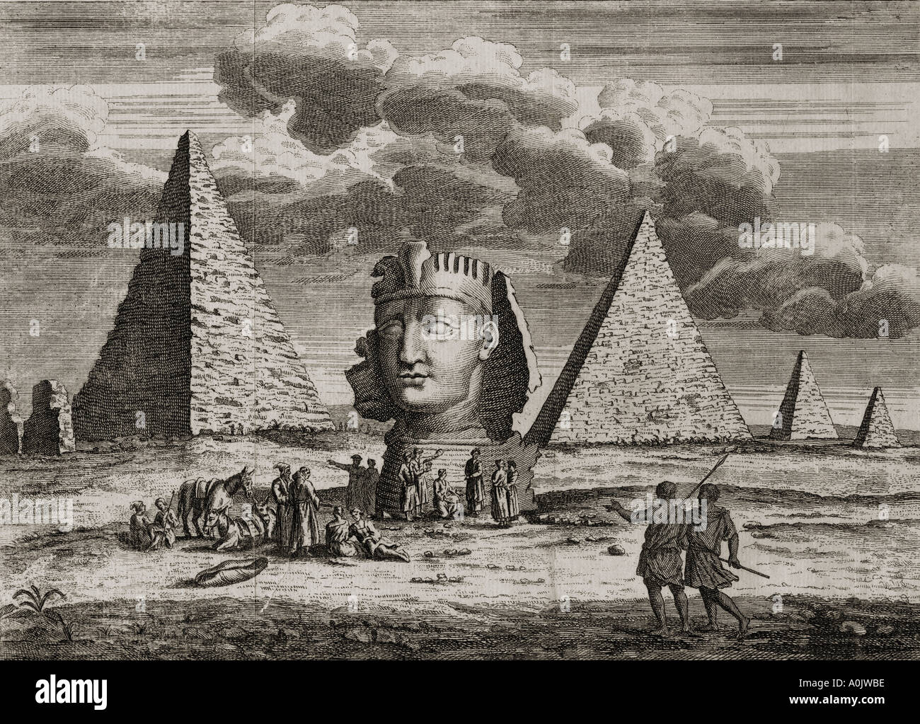 Giza, Egypt.  Pyramids and Sphinx as imagined by an 18th century artist.  From an 18th century print. - Stock Image