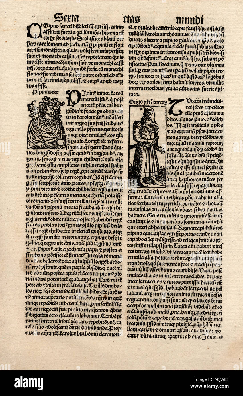 Original incunable leaf in Latin from Hartmut Schedel Liber Chronicorum. Printed by Schoensperger in 1497 - Stock Image