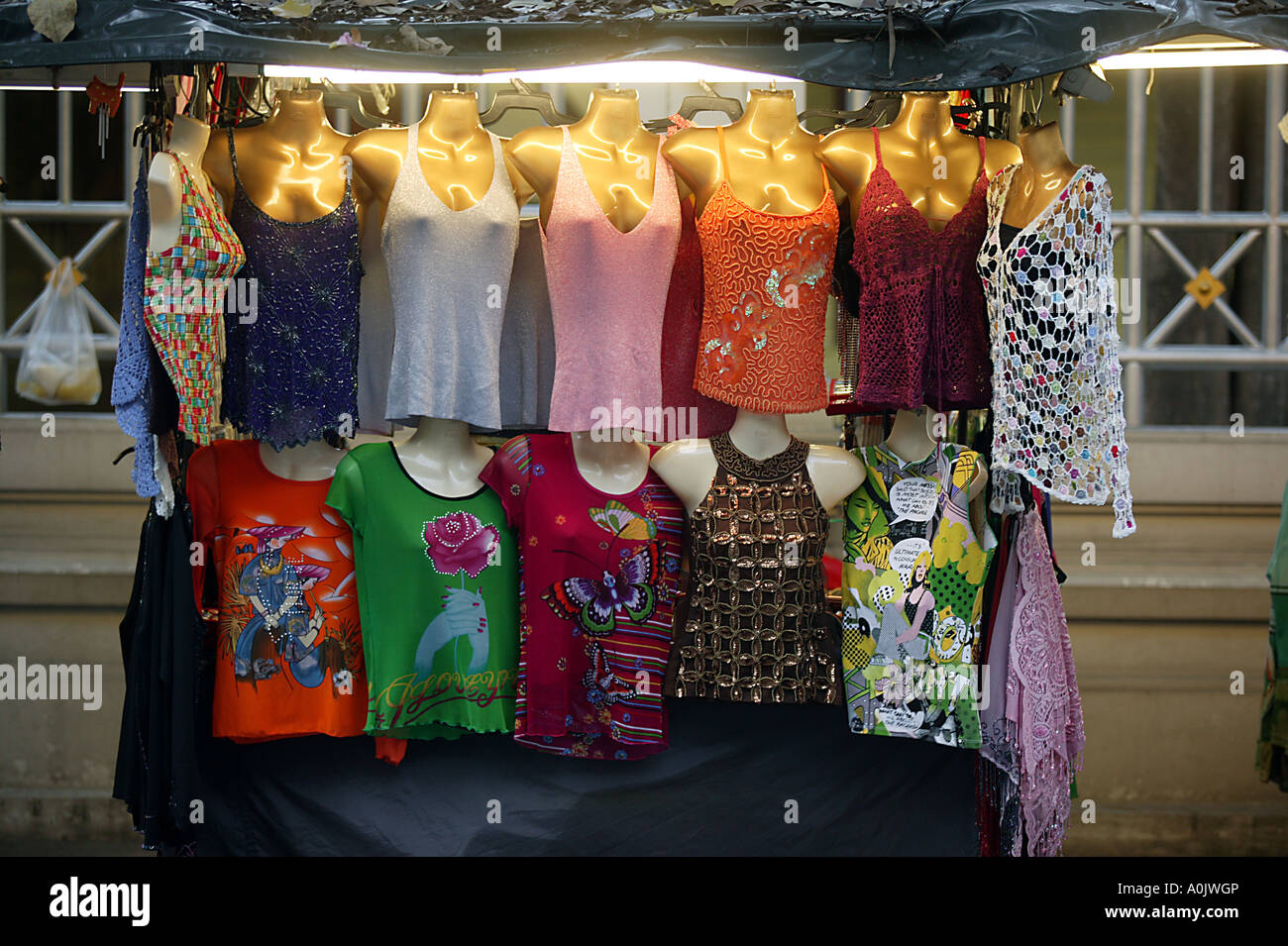 9c3c9015f0 Ladies tops for sale on a stall in Bangkok Thailand Stock Photo ...