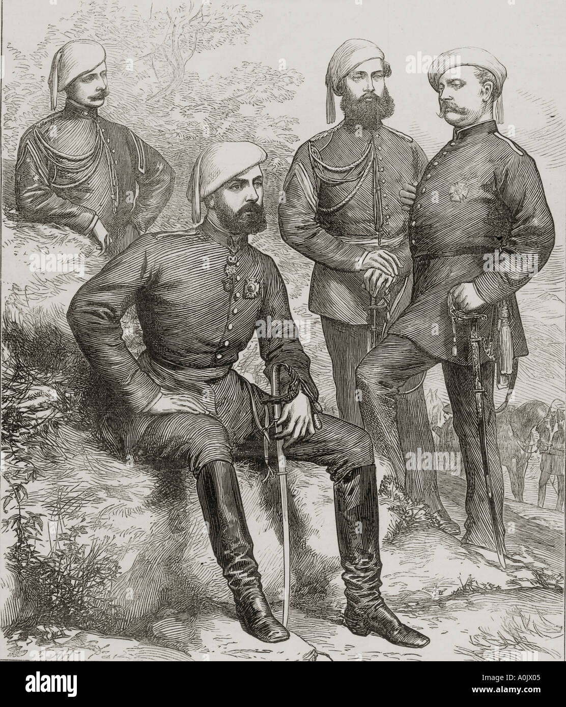 The Civil War in Spain Don Carlos and his staff - Stock Image