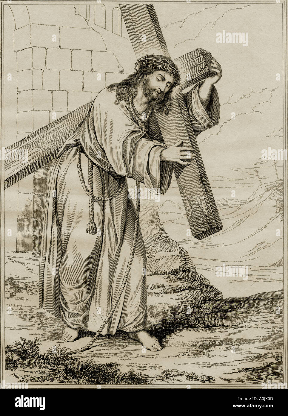 Jesus Christ bearing His cross on the way to His crucifixión. - Stock Image