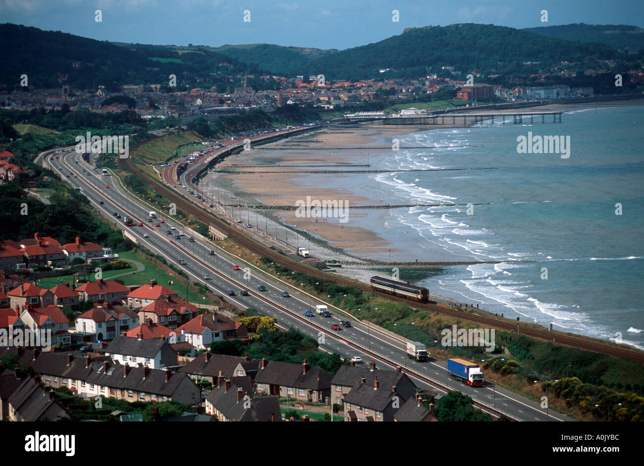 A55 Coast Road by Colwyn Bay and Rhos on Sea Conwy North East Wales - Stock Image