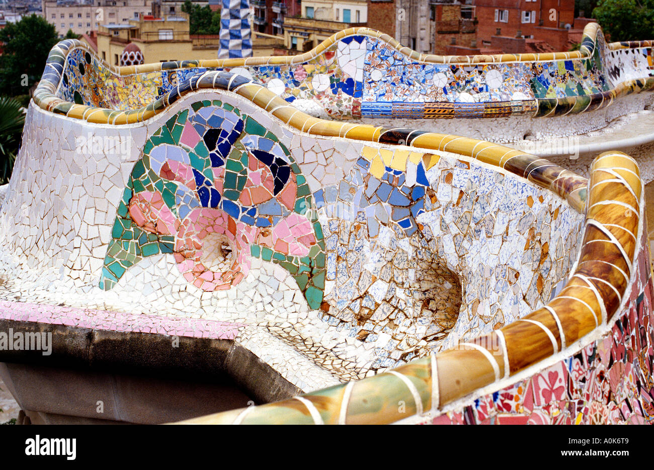 Gaudi Colourful Mosaic Tiles at the ' Park Guell ' in  Barcelona. Spain. - Stock Image