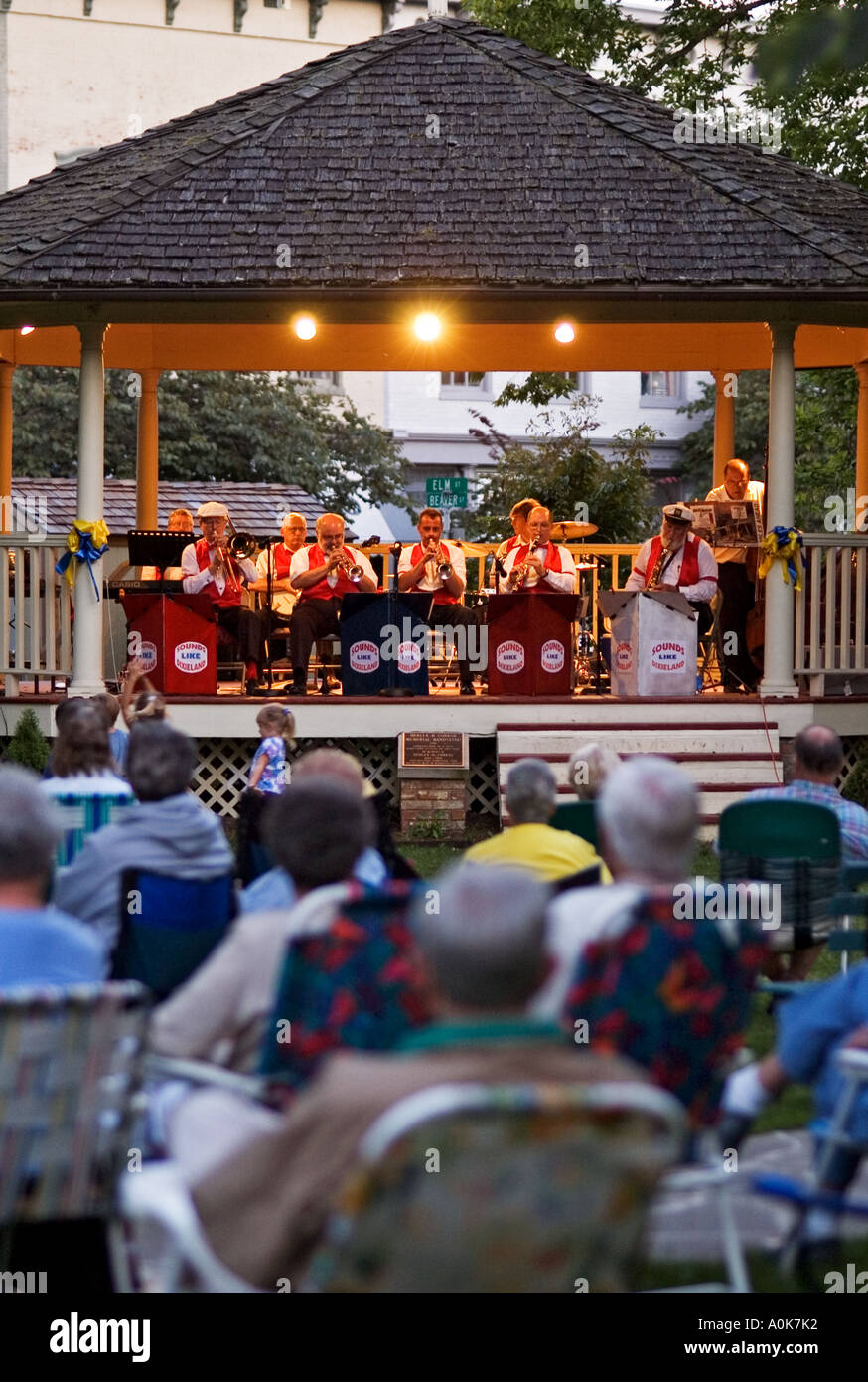 Band Playing Concert Under Gazebo In Small Town Square Corydon Indiana - Stock Image