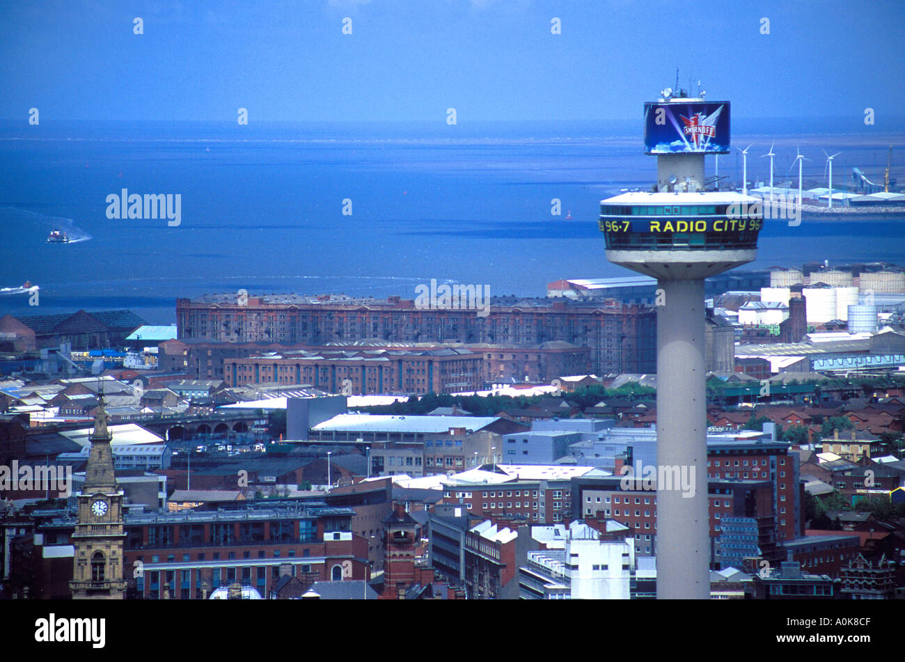 The Beacon Radio Tower with the city of Liverpool UK in the background including the famous Stanley Dock Tobacco Stock Photo