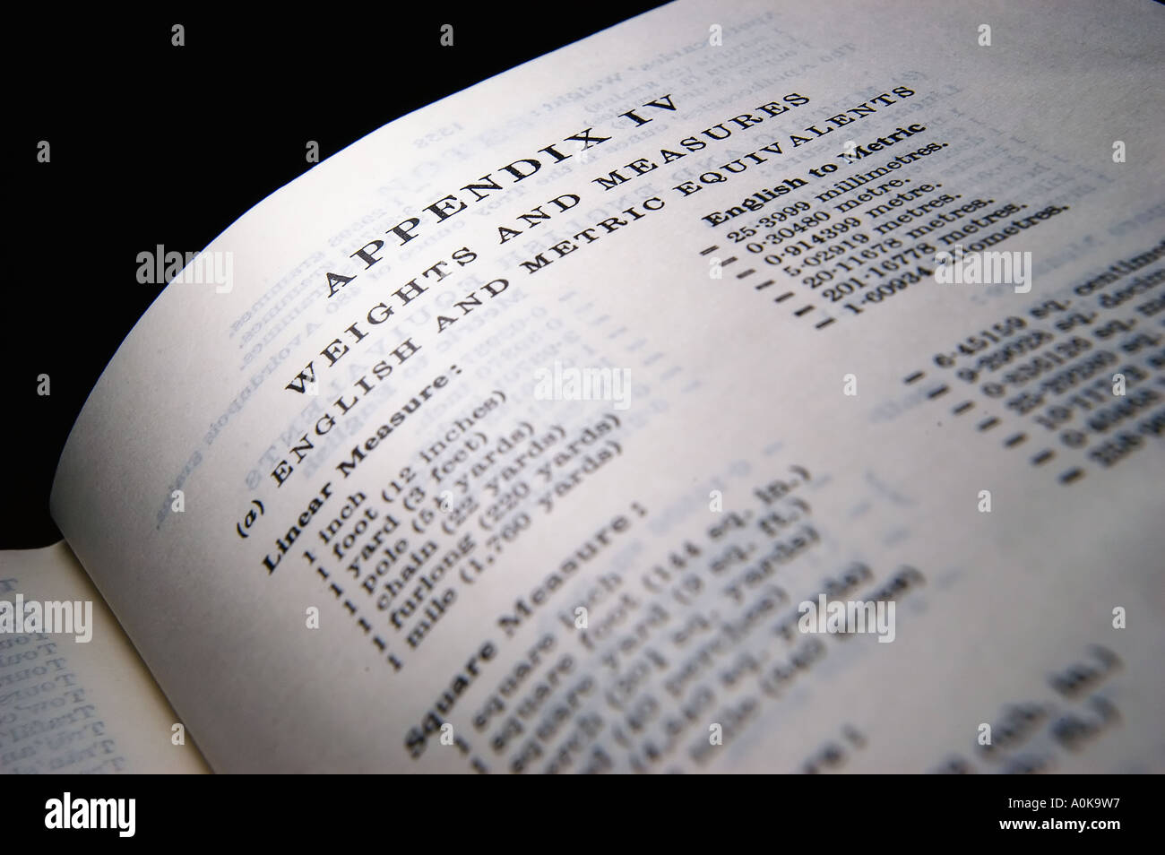 Conversion tables for Imperial and Metric measures in an Oxford dictionary - Stock Image