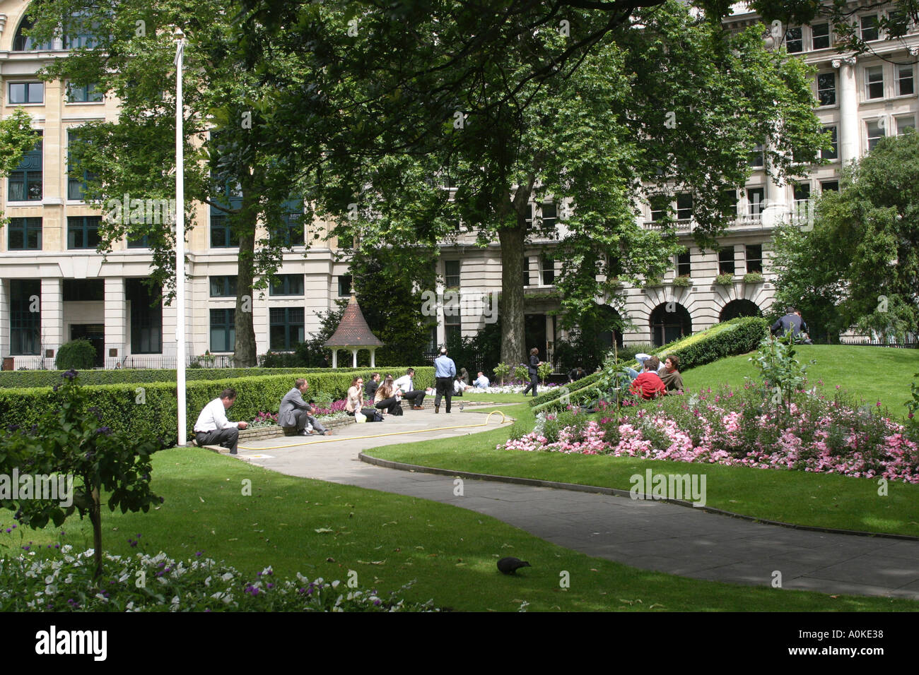 Gardens in Finsbury Circus Cily of London GB UK - Stock Image