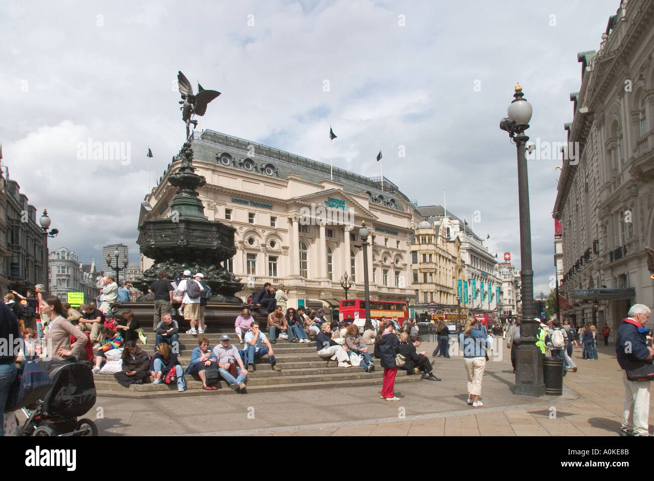 Piccadilly Circus and Eros with tourists London GB UK - Stock Image