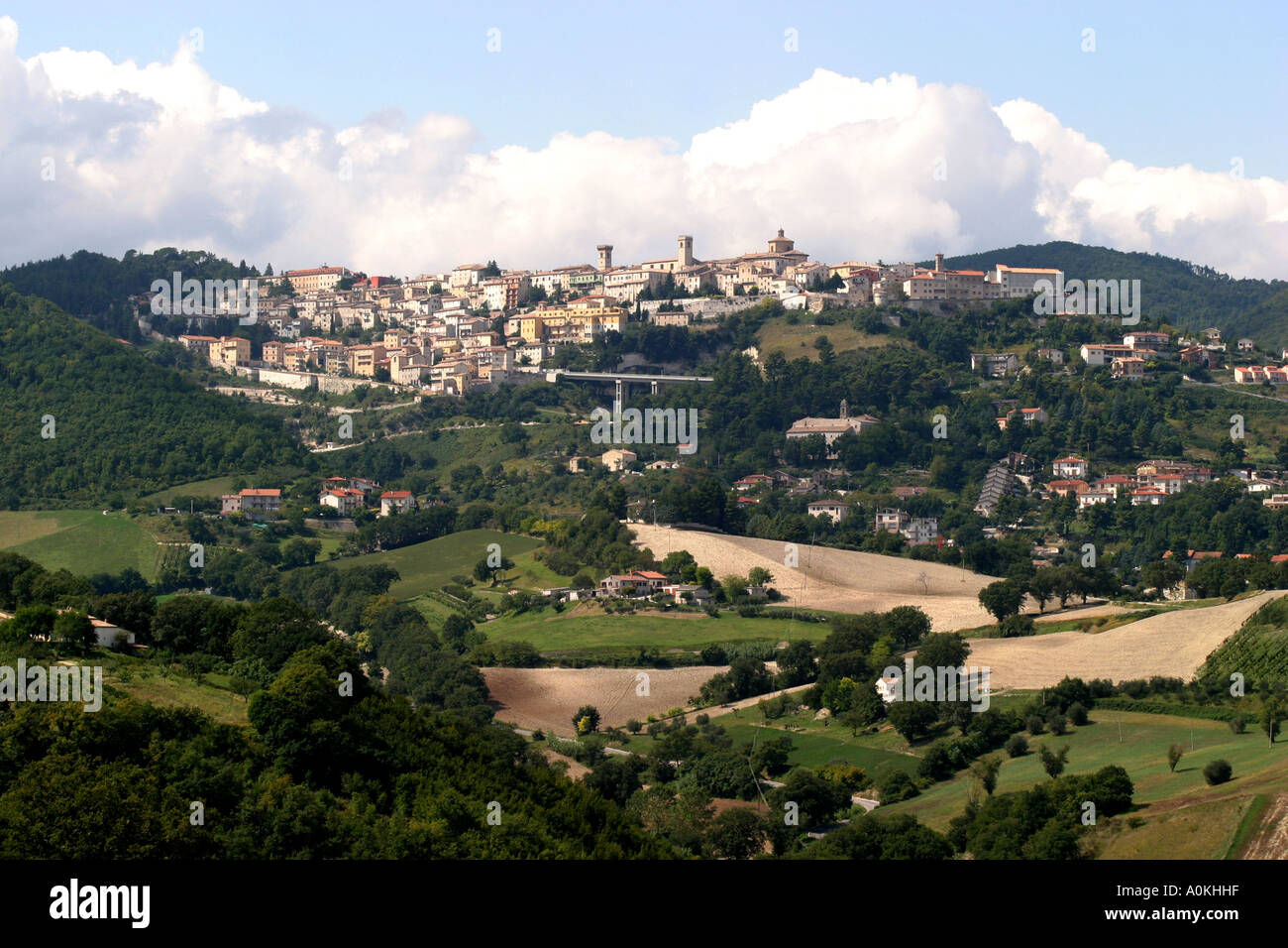 Areciva in the northern Marche province of Italy seen over typical patchwork fields courtryside . Stock Photo