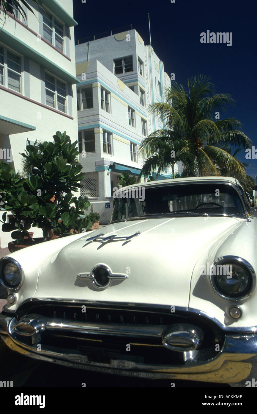 Art deco buildings South Beach Miami Florida USA and old style car ...