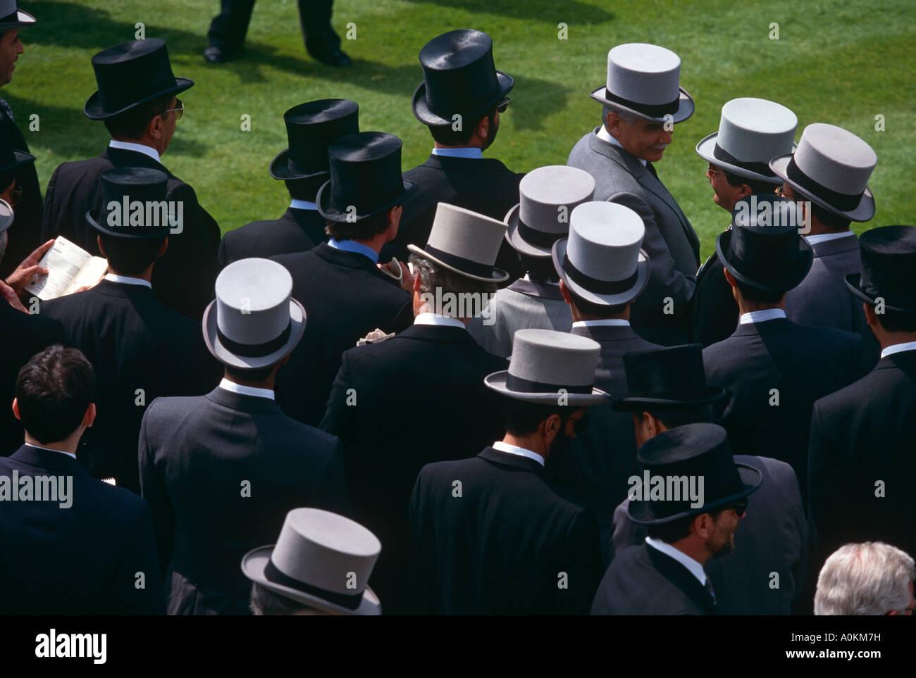 Top hats at Royal Ascot horserace meeting in Ascot, Berkshire, UK - Stock Image