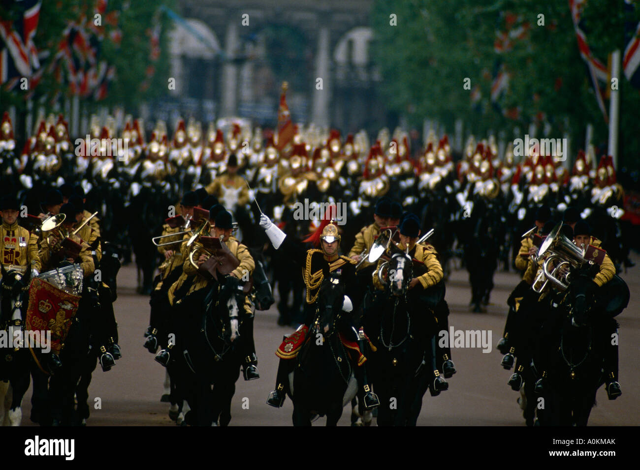 The band of the Life Guards Household Cavalry parade down The Mall in London, at the annual Trooping the Colour - Stock Image