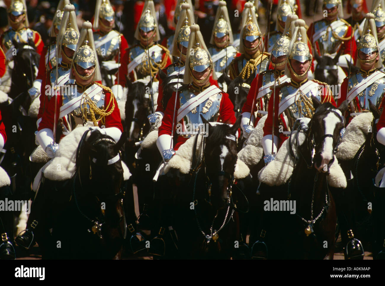 Household Cavalry parade along The Mall in London at the Trooping of the Colour ceremony in June - Stock Image
