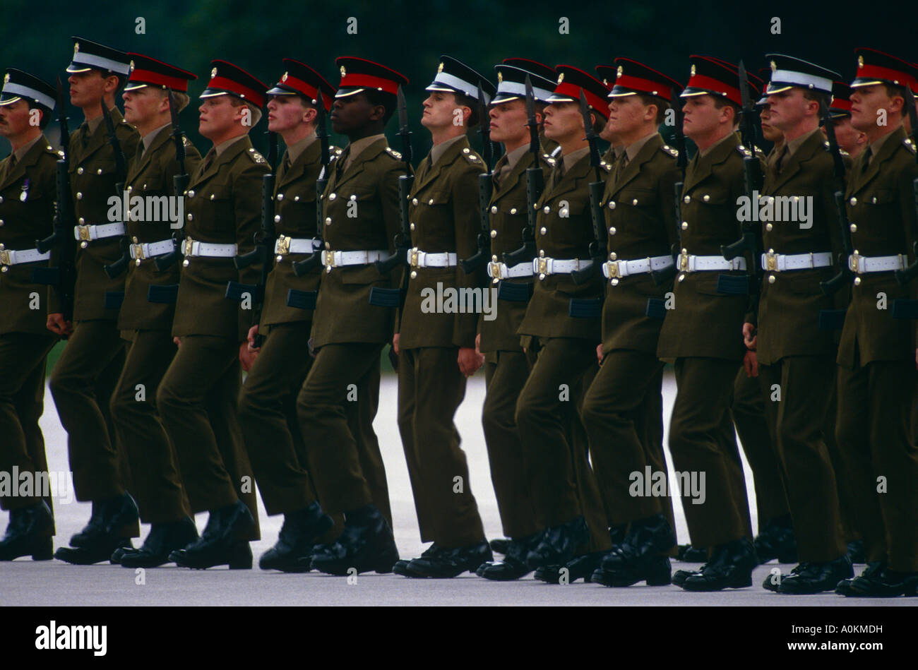 Richard Stokes, the first black guardsman in the British Army, at his passing out parade in Pirbright, Surrey 1988 - Stock Image