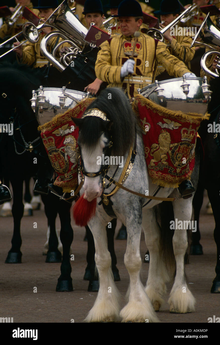 The band of the Life Guards Household Cavalry parade down The Mall in London, at the annual Trooping the Colour Stock Photo