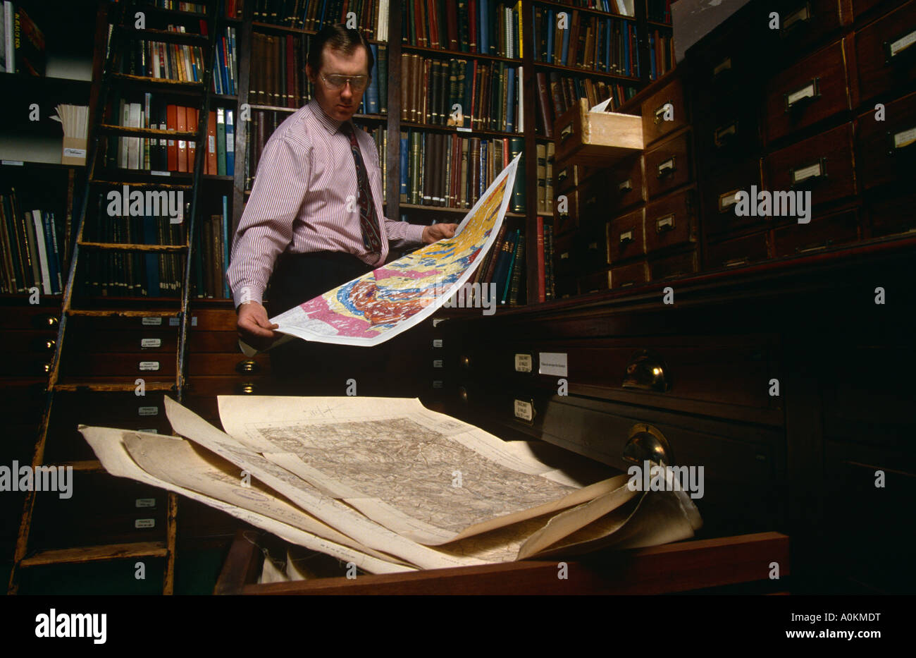 Map room at the Royal Geographical Society in Knightsbridge, London, England - Stock Image