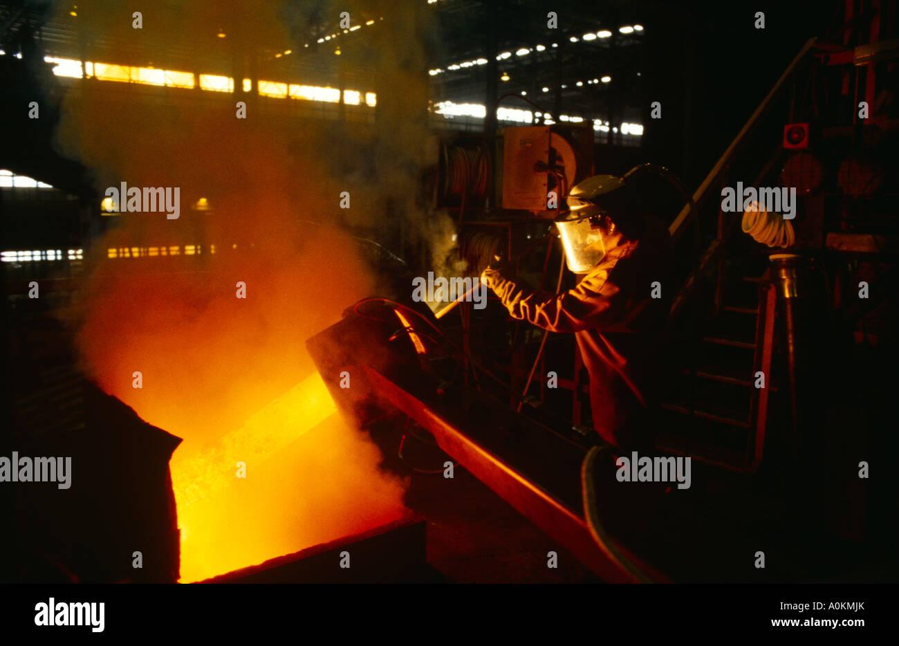 making steel in Tata Corus Llanwern steel works in Wales Stock Photo