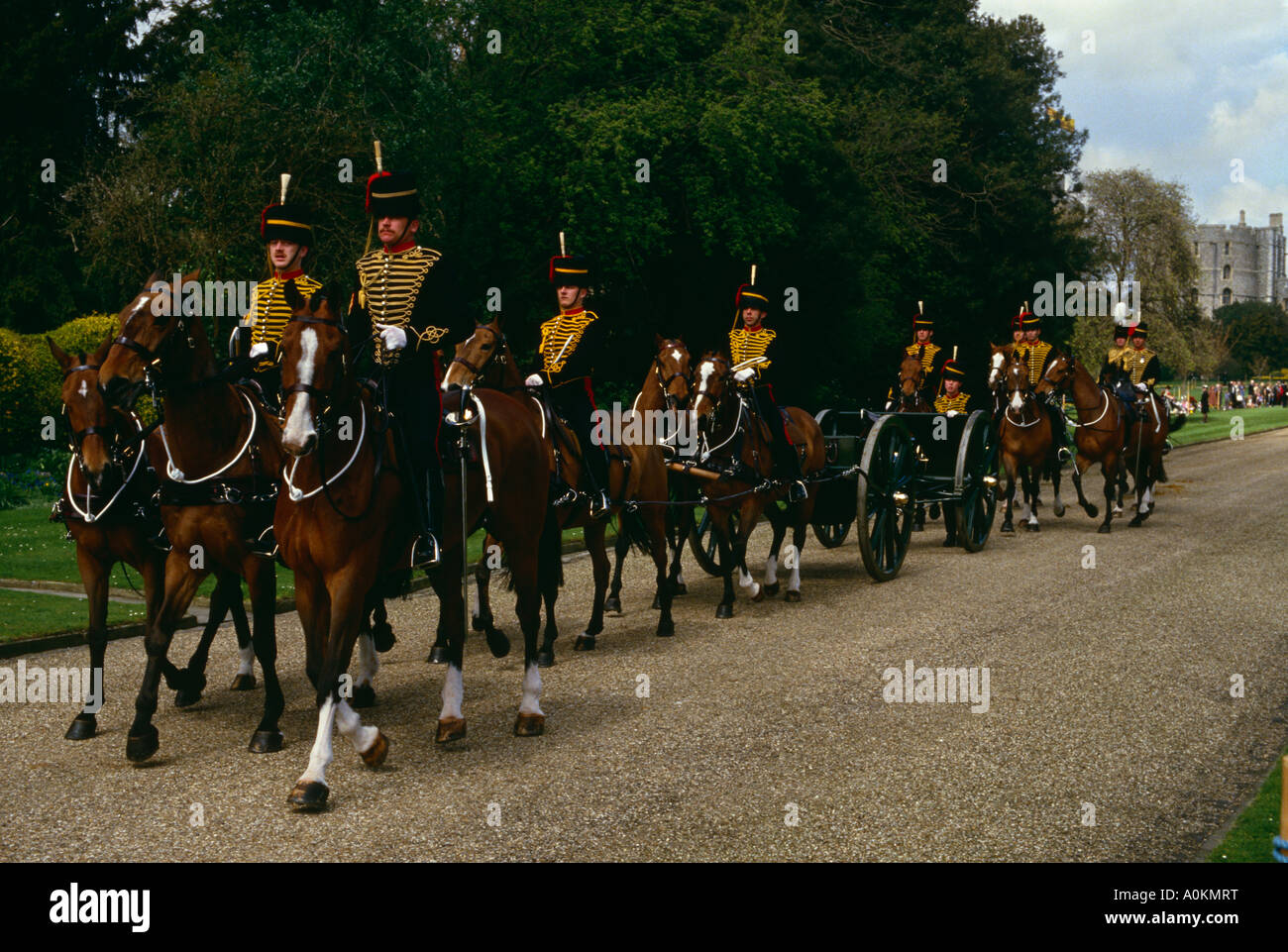 The Kings Troop Royal Horse Artillery in the grounds of Windsor Castle, Berkshire, England - Stock Image