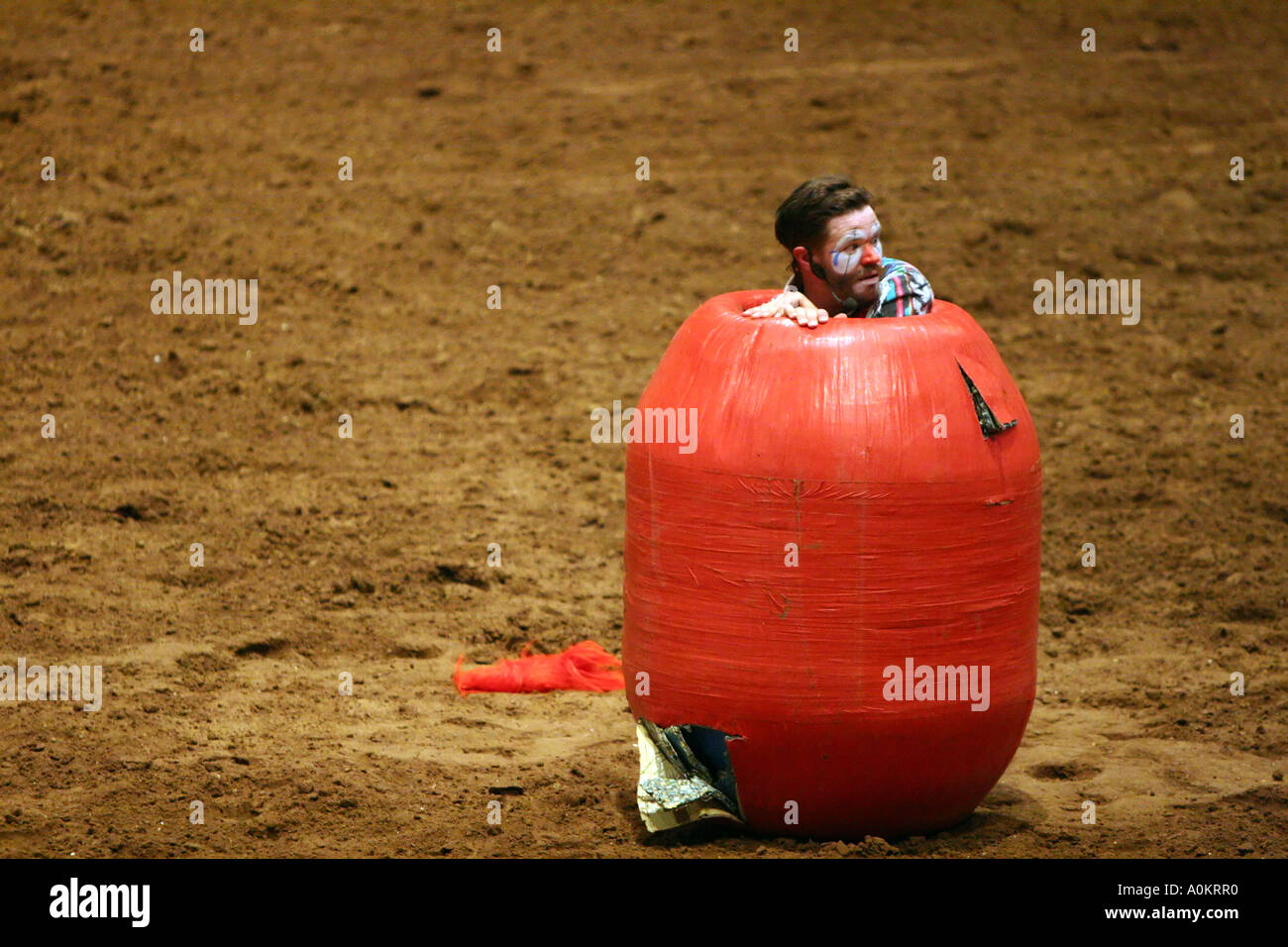 A Rodeo Clown Hides Inside A Barrel Stock Photo 5726383