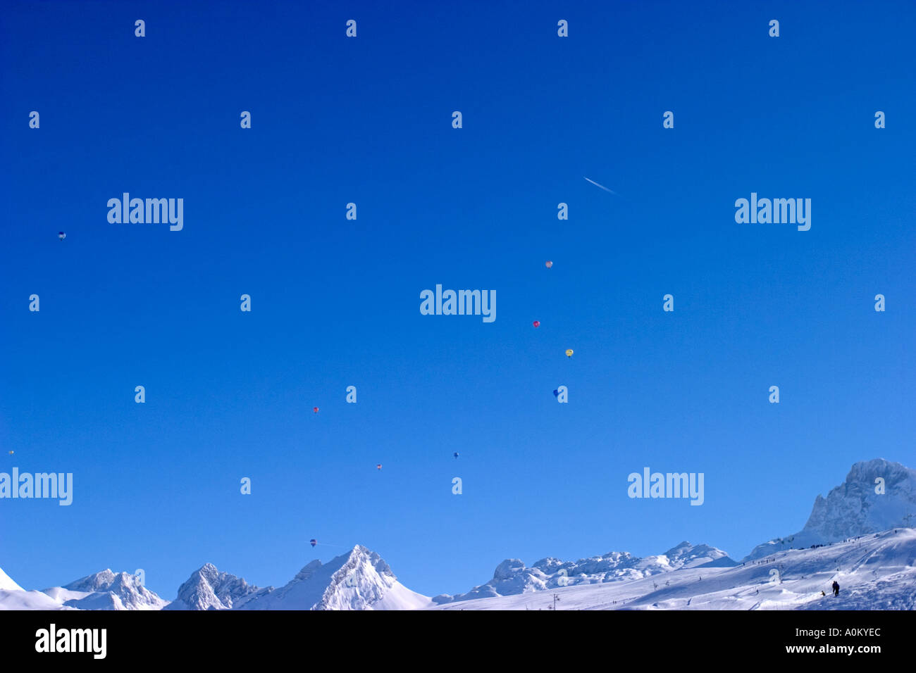 blue sky in alps mountain - Stock Image
