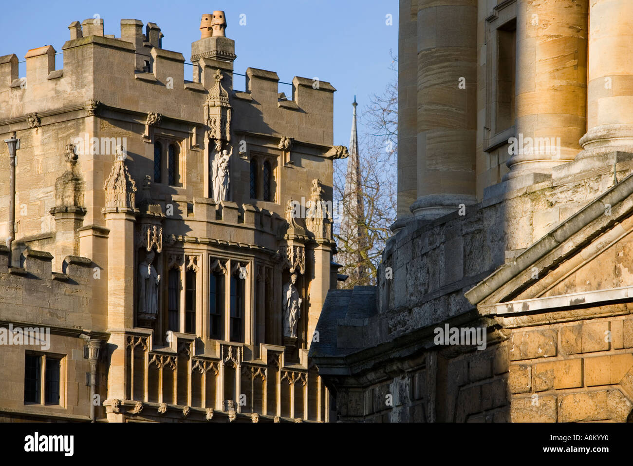 Facade of Brasenose College Oxford, Radcliffe Square - Stock Image