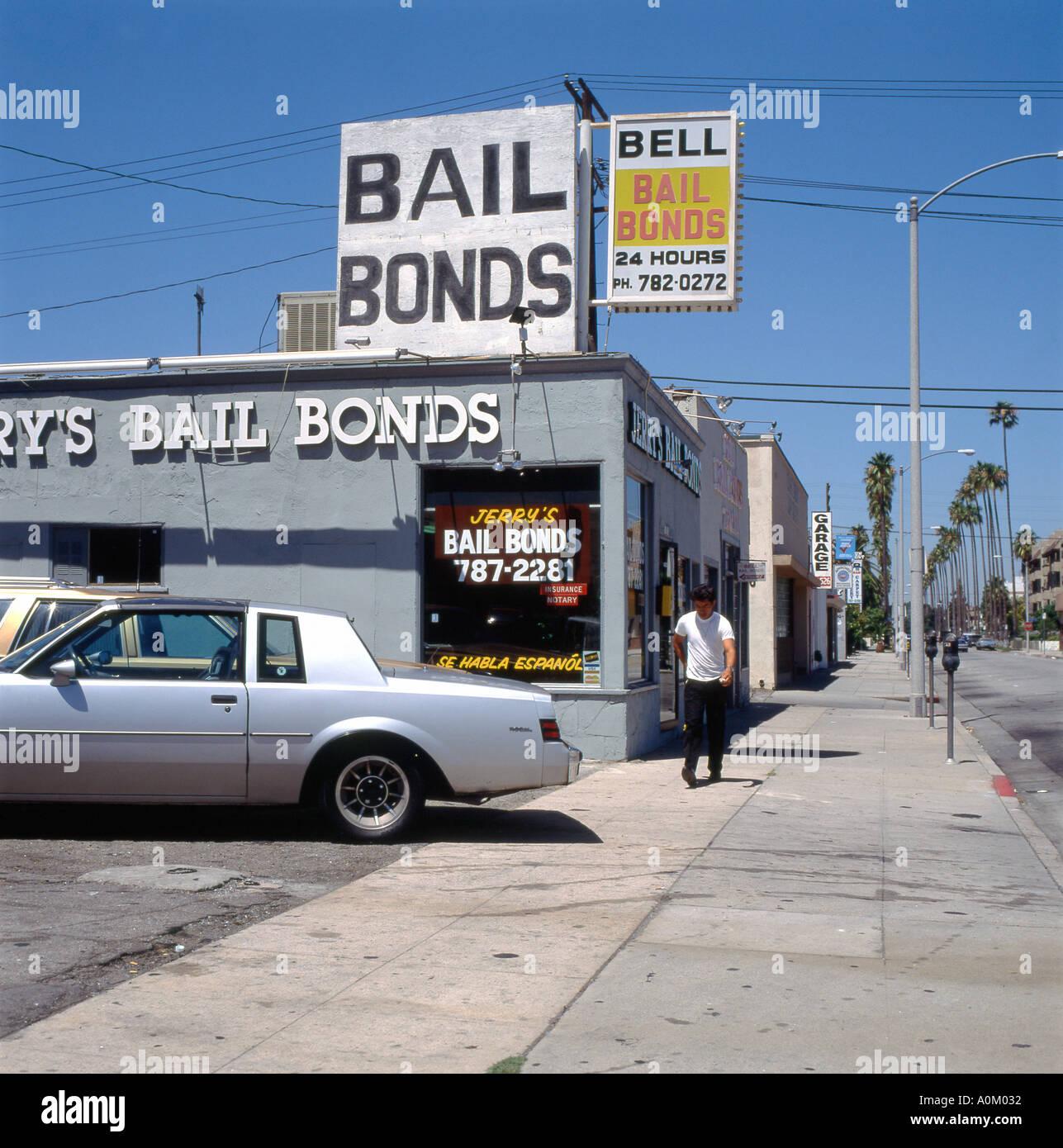 A 1970s car parked outside Jerry's Bail Bonds shop on Santa Monica Boulevard, Los Angeles California USA  KATHY DEWITT - Stock Image