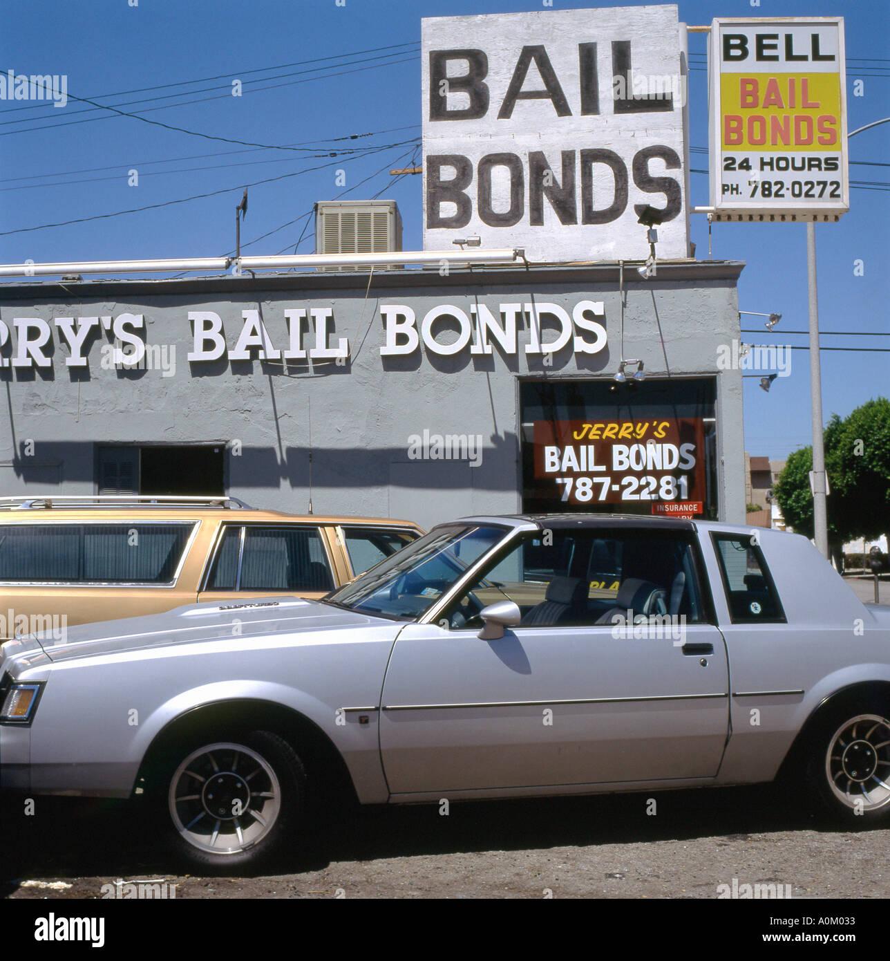 Cars parked outside Jerry s Bail Bonds shop on Santa Monica West Los Angeles California USA  KATHY DEWITT - Stock Image