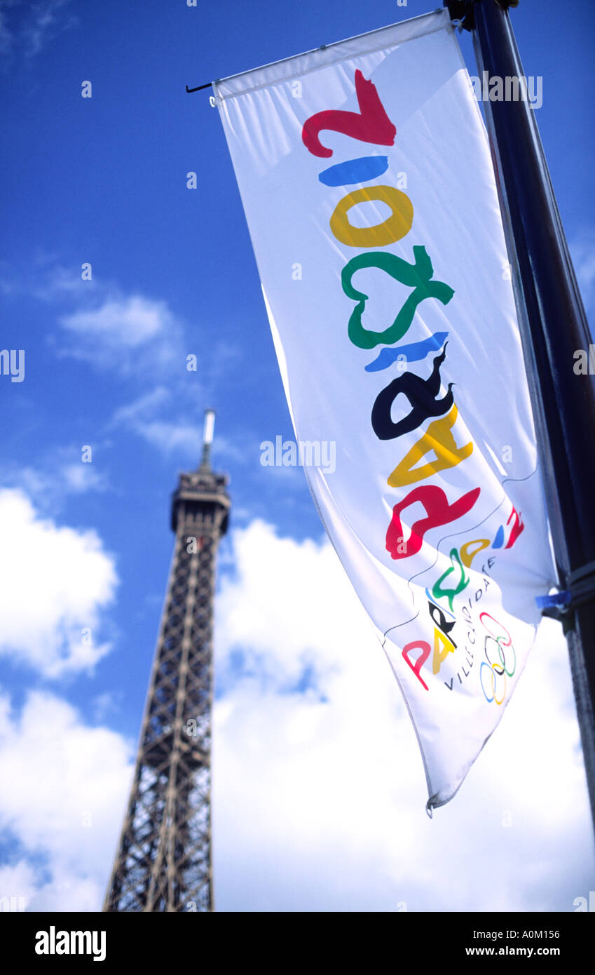 Paris 2012 Olympic Games Flag France - Stock Image