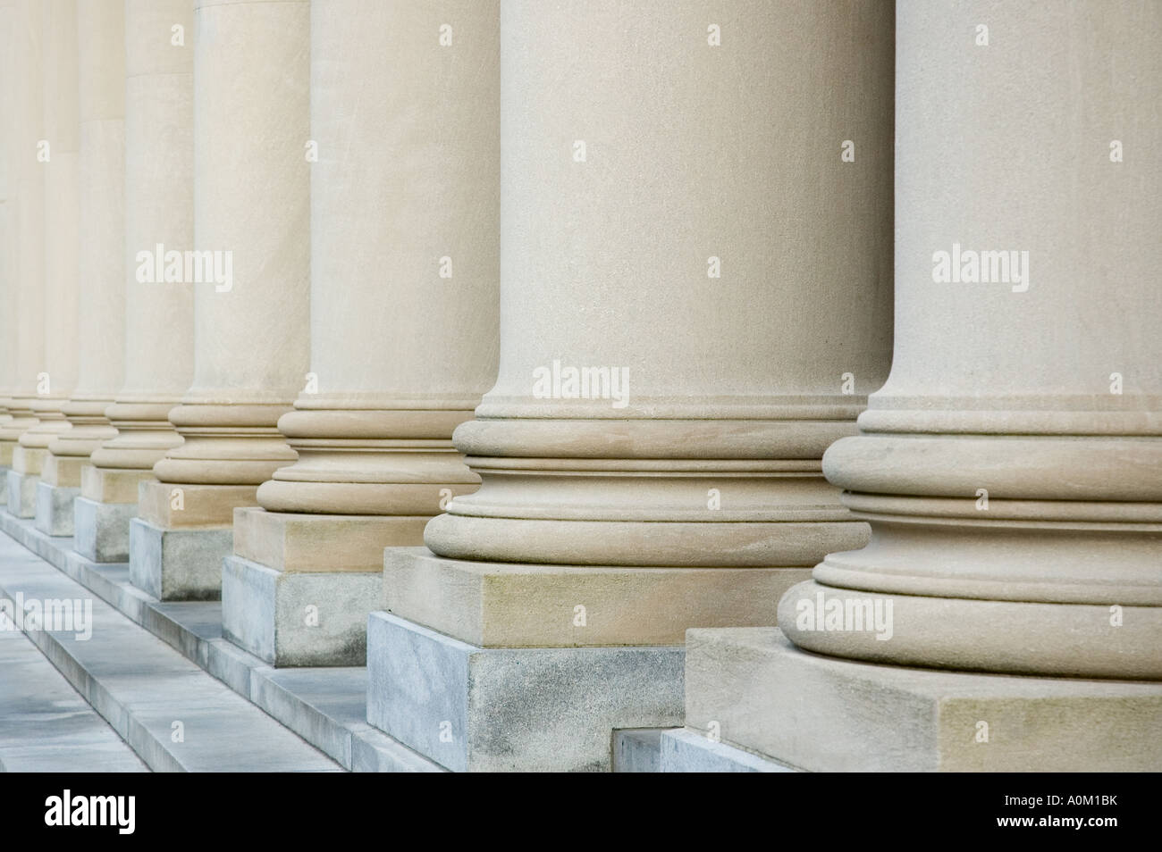Pillars at the Widener Library in Harvard Yard, Cambridge, Massachusetts - Stock Image