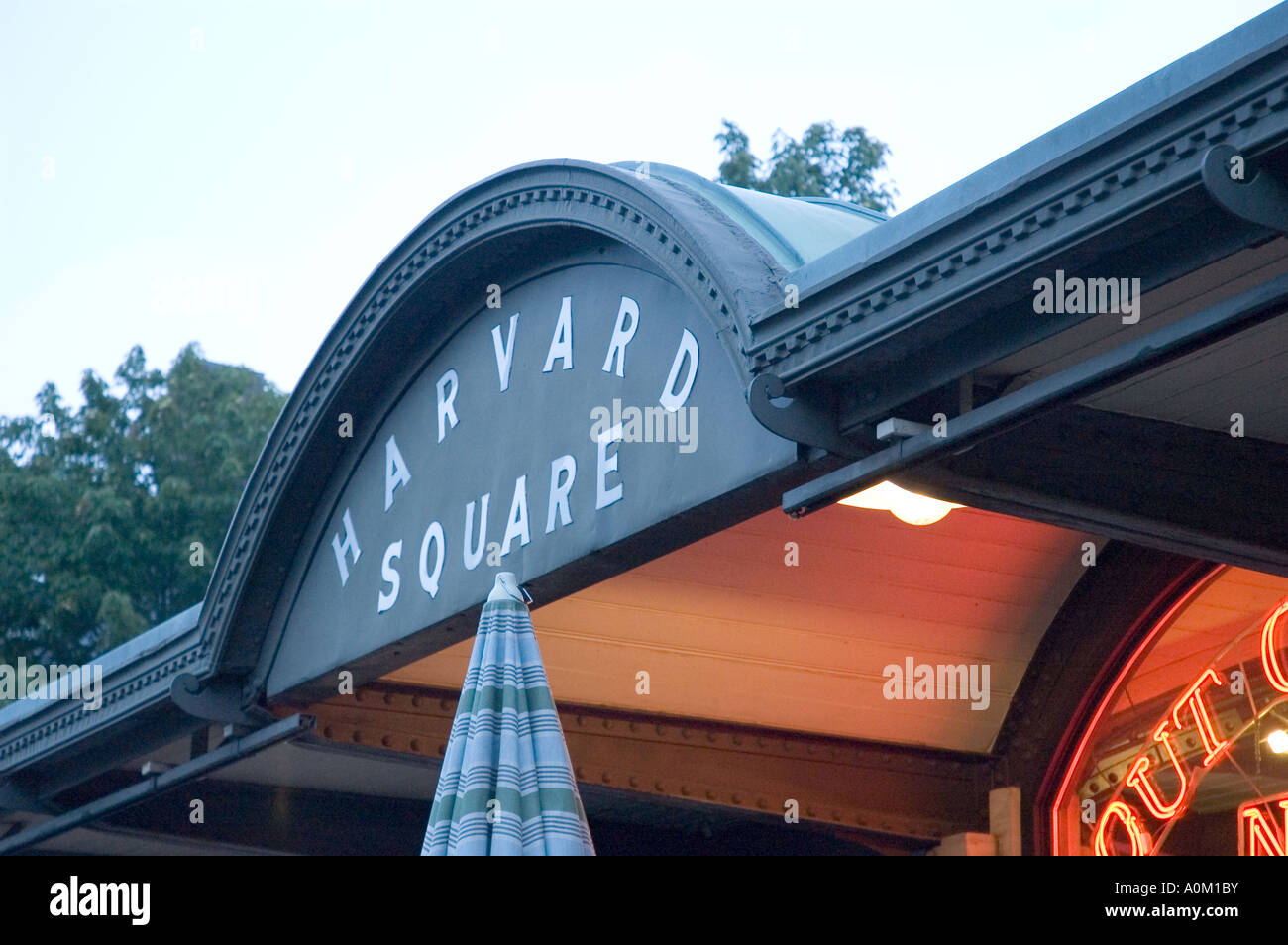Harvard Square sign at Out of Town News, Harvard, Cambridge, Massachusetts - Stock Image