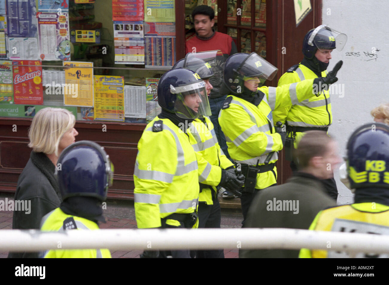 Riot police on duty at a demonstration in Brighton England - Stock Image