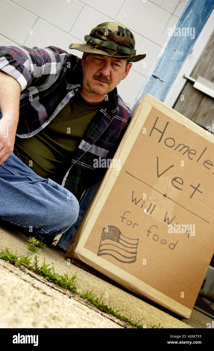 Homeless veteran - Stock Image