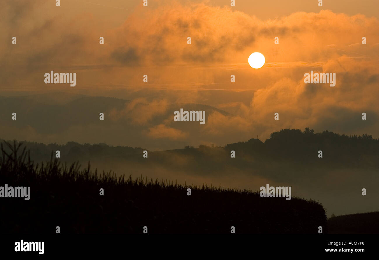 Sunrise in southern Austria - Stock Image