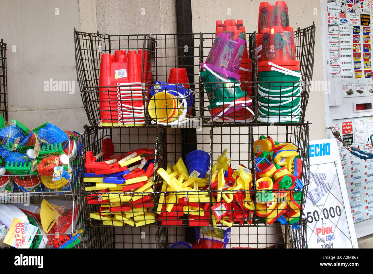 Buckets and spades on sale at seaside resort Stock Photo