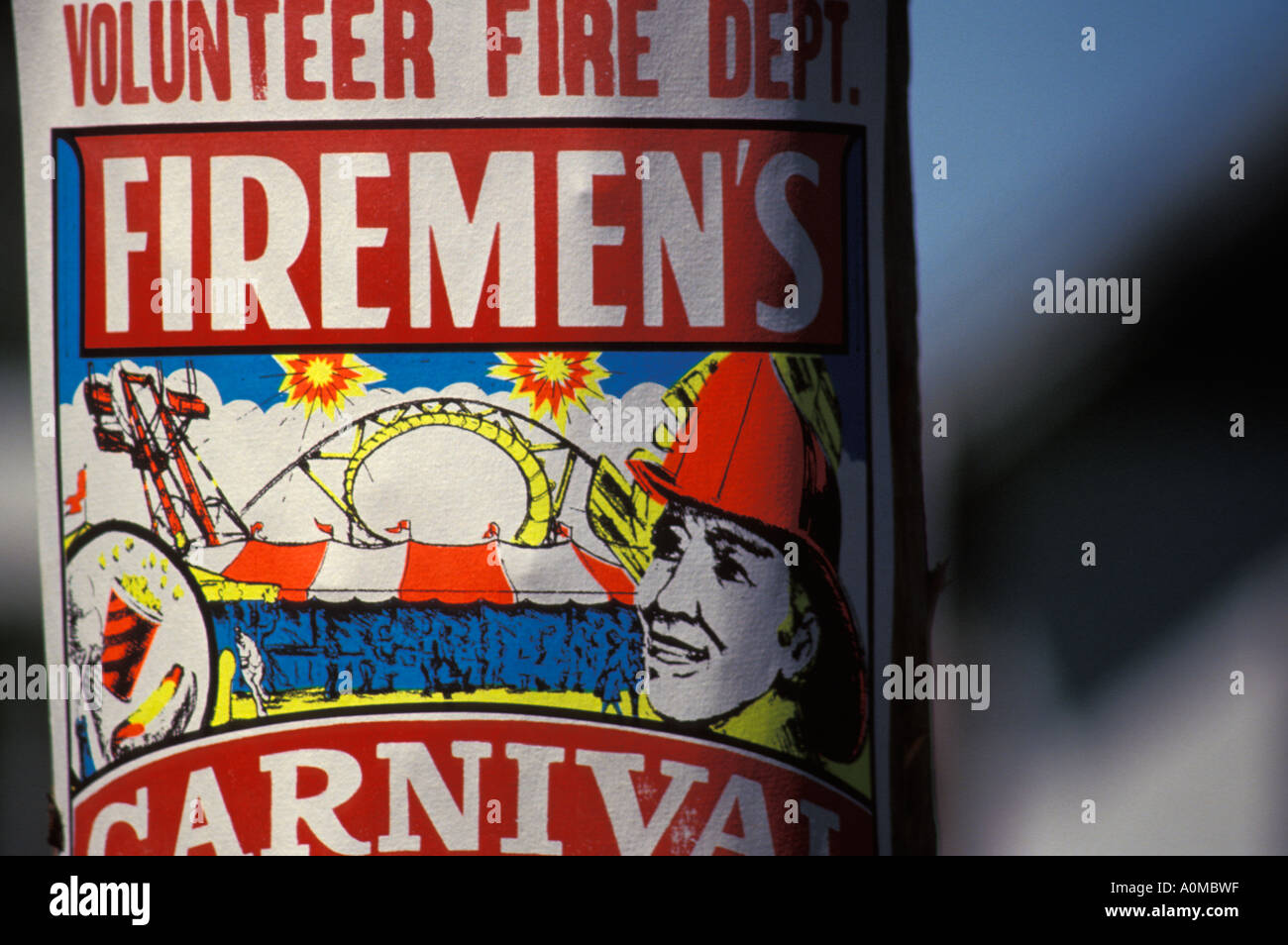 poster ad advertisment firemens volunteer fire department carnival fun holiday family life lifestyle festival small town - Stock Image
