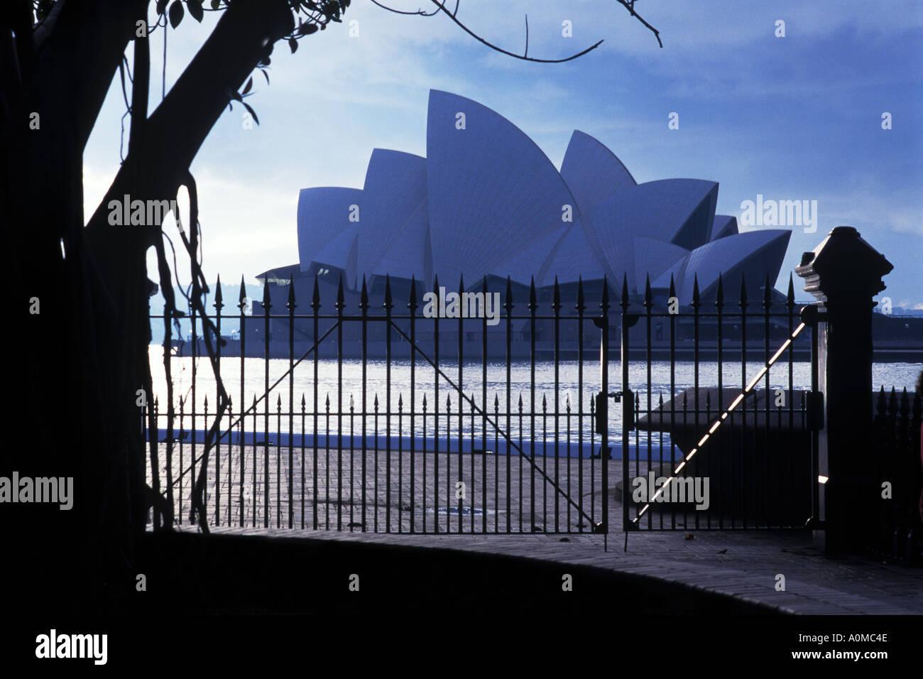 Famous Sydney Opera house on a grey day  - Stock Image